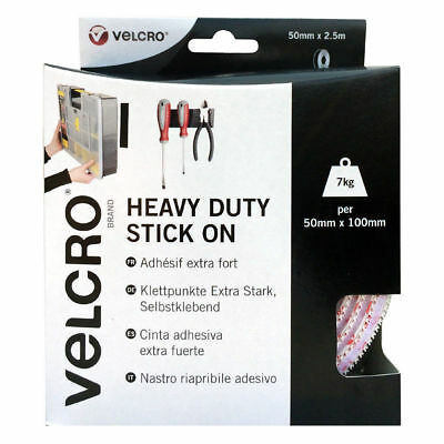 Velcro® Brand Heavy Duty Stick On Self Adhesive 50Mm Black/White Hook & Loop