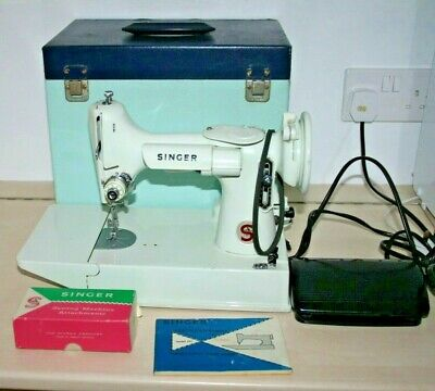 Singer Feather Weight 221k  White Portable Electric Sewing Machine (Damaged)