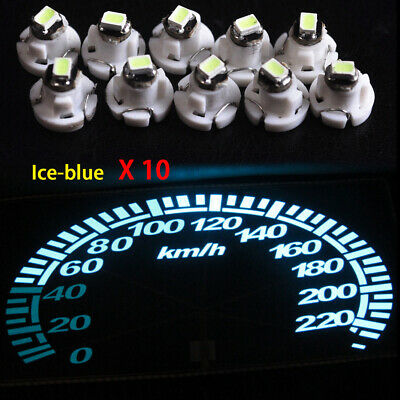10x T4.2 Neo Wedge 1-SMD Ice Blue LED Cluster Instrument Dash Climate Light Bulb