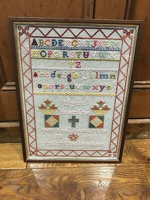 BEAUTIFUL ANTIQUE VINTAGE WWI 1913 FRAMED SAMPLER w/MOTTO & ALPHABET