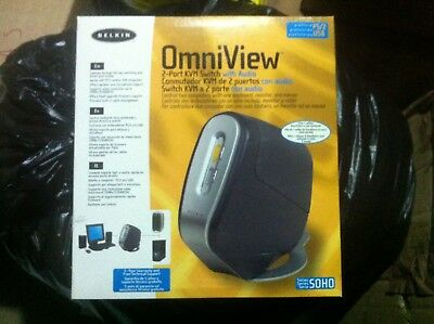 omniview 2port kvm switch with audio and cabling set new...