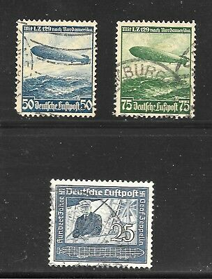 3rd Reich Original Zeppelin Stamps Used