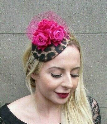 Cerise Hot Pink Rose Flower Leopard Print Teardrop Fascinator Hat Headband 7013