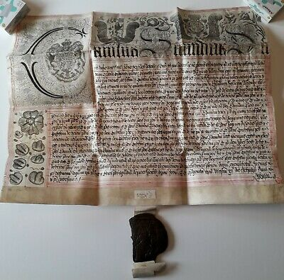 Charles 2nd Vellum Latin Document Manuscript Superbly Embellished with Big Seal