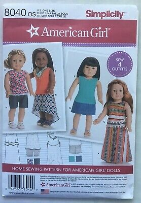 Simplicity Sewing Pattern 8040 American Girl 18 Doll Clothes