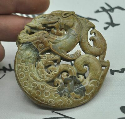 Chinese ancient old hard jade hand-carved pendant necklace~dragon  M07