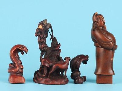 4 Unique Chinese Wood Boxwood Statue Snake Bodhisattva Waiter Collection Flaws