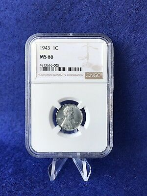 1943  Steel Lincoln Cent 1c Wheat Penny *NGC MS66 Gem Brilliant Uncirculated*