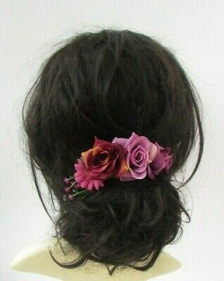 Burgundy Wine Red Pink Mauve Purple Rose Flower Hair Comb Fascinator Floral 7018