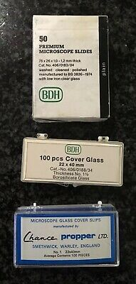 Vintage BDH Premium Microscope Slides and Glass Cover Slips 22 x 40mm