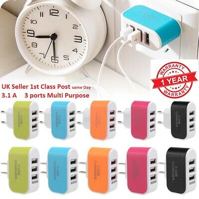 3 Ports USB Multi Adapter Travel Wall AC Charger UK /EU /US /AU Plug for Phones