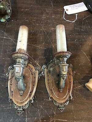 Lt Match Pair Polychromed White Metal Riddle Company Wall Sconce