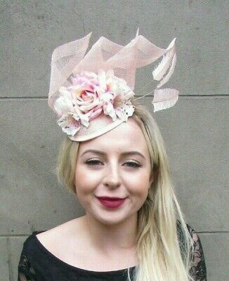 Blush Light Peach Pink Lily Rose Sinamay Flower Feather Hat Fascinator Hair 7034