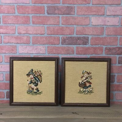 Pair Of Framed Needlepoint Boy And Girl