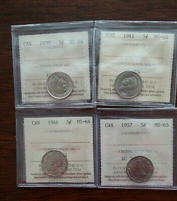 CANADA LOT OF FOUR FIVE CENT COINS, 1939, 1941, 1946, 1957 MS-64 and 65 GRADED