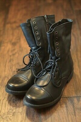 a4098f5e973 STEVE MADDEN TREK Lace-up Black Leather Combat Boot Size 10