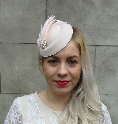 Blush Champagne Light Pink Pearl Feather Pillbox Hat Hair Fascinator Clip 7038