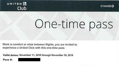 2 Passes United Club One Time Pass EXP 11/18/2019 E-PASS  Free Email Delivery