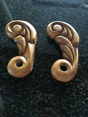 Matching Pair Of Hand Carved Wood Curtain Rod Holders Made In Russia