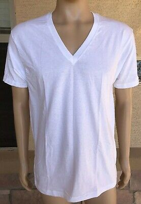 NWOT Vintage 80s 90s Jockey Classic Blank White V Neck T Shirt USA Made Large