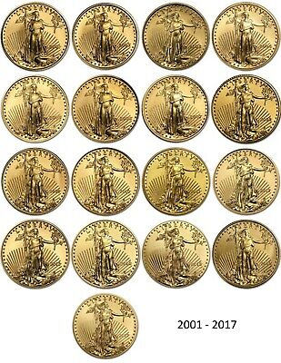 2001 - 2017 $5 Gold American Eagle 1/10 oz BU - Lot of 17