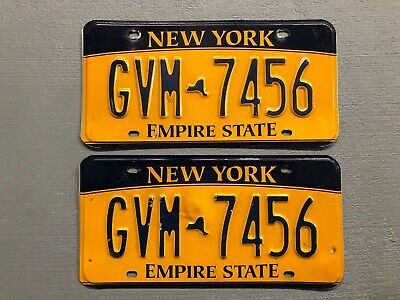 New York Empire State License Plate Pair Gvm-7456 Free Shipping!!