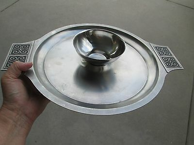 Vintage Mid Century Modern Danish Stainless 2 Piece Serving Tray Chips & Dip Set