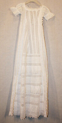 Antique Irish Handmade Infant Baby's Christening White Lace Long Gown Size O-3M