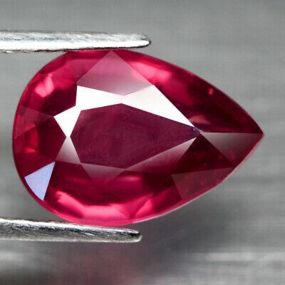 5.09 Ct. Big Pear Facet Natural Ruby Pinkish Red Mozambique Alluring