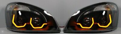 Pair Blackout Freightliner Cascadia Projection Headlights w/ Dual LED Lights