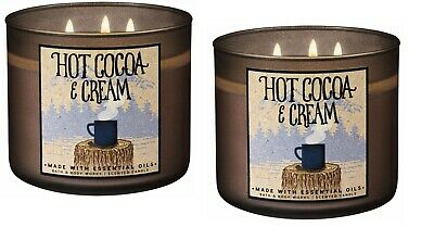 QTY 2X Bath and Body Works 3 Wick 14.5 Ounce Scented Candle Hot Cocoa & Cream