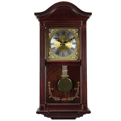 "Bedford Clock Collection Mahogany Cherry Wood 22"" Wall Clock Pendulum & Chimes"