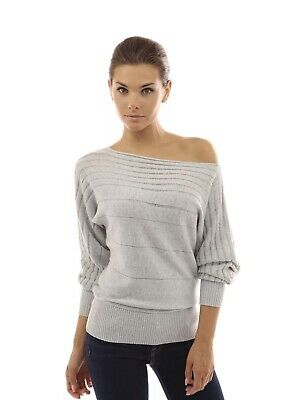f38604b32e753 PattyBoutik Women s on off one shoulder Semi-sheer Sweater Light Gray XS