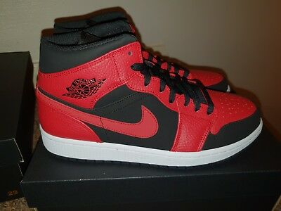 new concept facad 187fd Nike Air Jordan 1 Mid Reverse Bred Black gym Red-White 554724-054