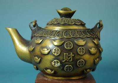 """Chinese Old Hand Carving Copper Copper Cash """"财"""" Word Teapot D02"""