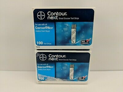 Bayer Contour Next Test Strips, 2 Boxes of 100 (200 Strips) SHIPS FREE *EXPIRED*