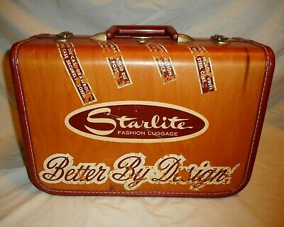 "Rare Vintage STARLITE Wooden Advertising 16"" Suitcase Luggage Salesman Sample"