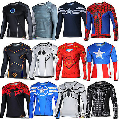 Superhero Marvel Compression Men Long Sleeve T-Shirt Bicycle Running Fitness Top