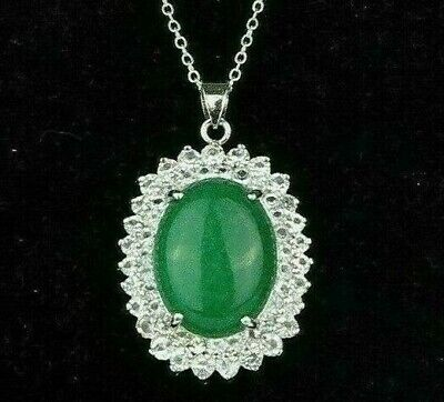 """Green Oval Malaysia Jade Pendant Silver Plated Jewelry Chain Necklace 1.25"""" New"""