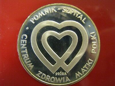 1986 Poland Silver Coin  1000 Zlotych  Proba Mothers Health Center