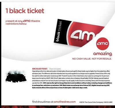 FAST DELIVERY! AMC Black Movie Tickets. No Expiration Date