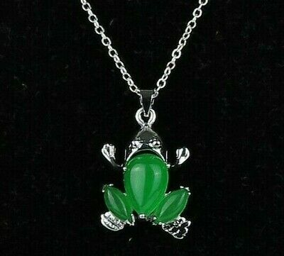"""Green Frog Malaysia Jade Pendant Silver Plated Jewelry Chain Necklace .75"""" New"""