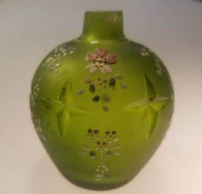 Early Antique Green Cut Satin Glass Perfume Bottle with Enamel Floral Design NR!