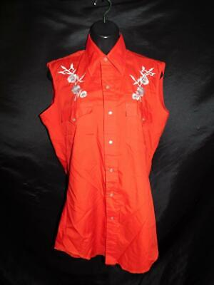 Vintage Chute M Red Embroidered Flower Western Snap Shirt Sleeveless Blouse md