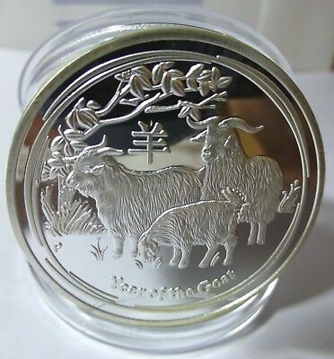 Elizabeth Ii - Year Of The Goat 1 Oz Finished With 0.999 Silver Coin