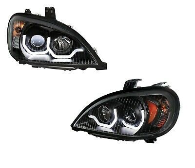 "Pair Freightliner Columbia ""Blackout"" Headlights w/ White LED Light Bar"