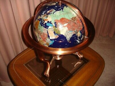 Blue world Globe with Stone and shell Inlay on claw footed gimbal stand