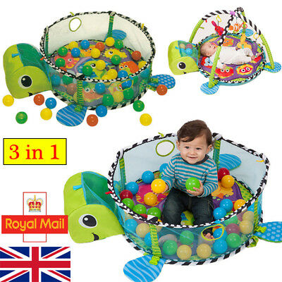 Turtle Baby Gym 3 in 1 Activity Play Floor Mat Ball Pit Toys Babies Playmat UK
