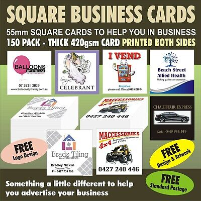 150 BUSINESS CARDS  55mm SQUARE DOUBLE SIDED PRINT 420gsm THICK QUALITY CARDS