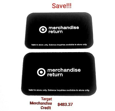 TARGET~Merchandise Credit Cards $483.37 (In Store Only )  2 Card Lot!!!! SAVE!!